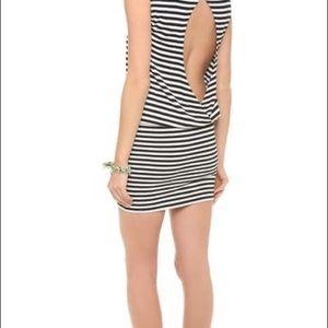 Alice + Olivia black white striped open back dress